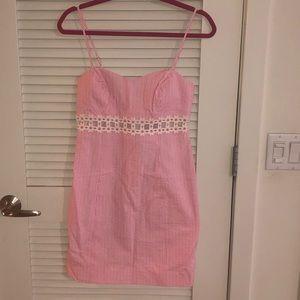 Lilly Pulitzer Sheena Pink Seersucker Cutout Dress
